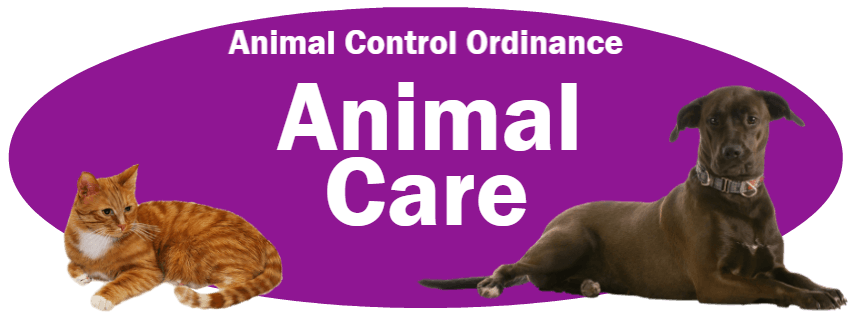 CLICK HERE to read the Animal Care section of the Animal Control Ordinance