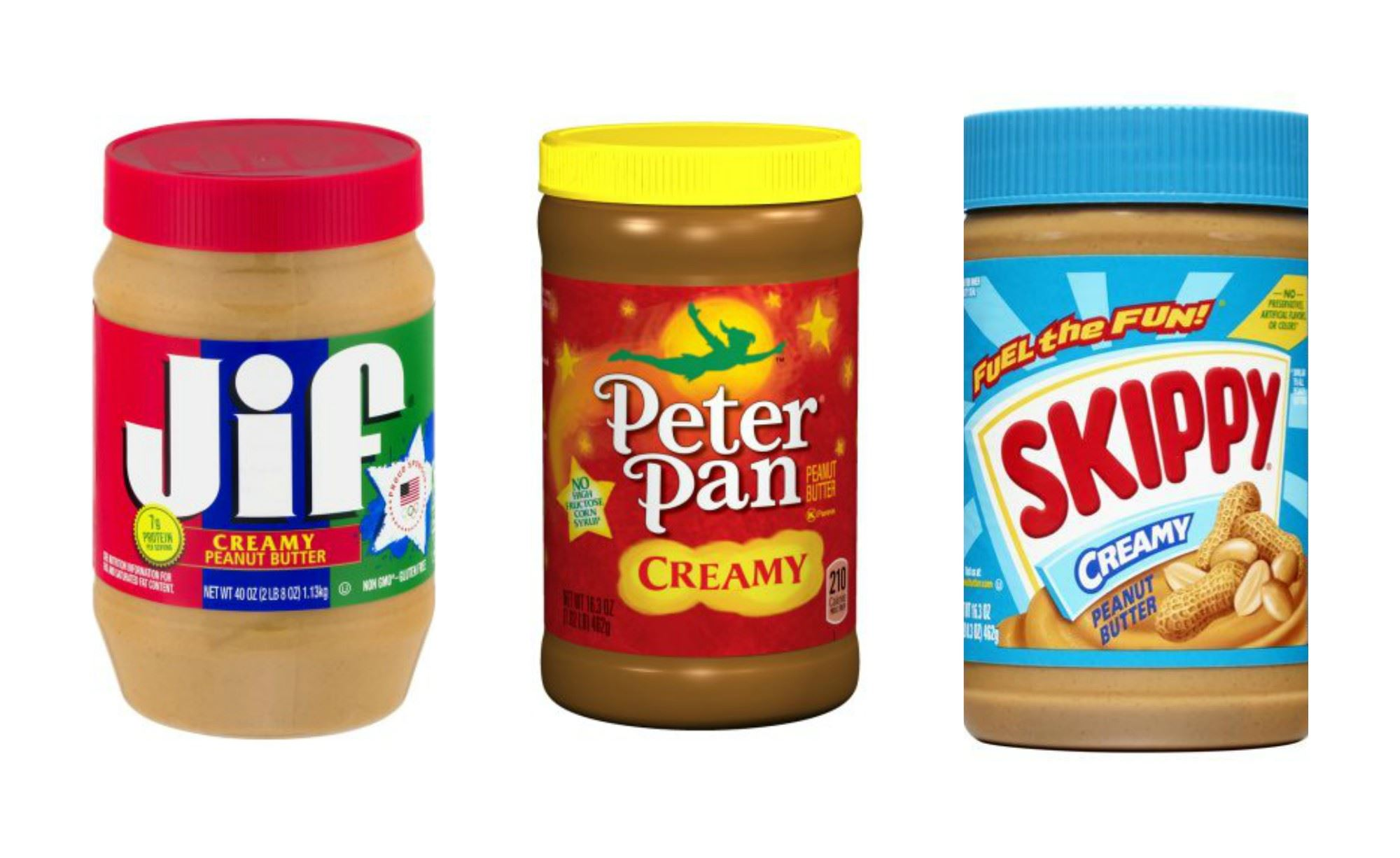 Picture of jars of Jiff, Peter Pan and Skippy Creamy Peanut Butter