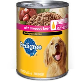 Can of Pedigree Meaty Ground Dinner With Chopped Beef