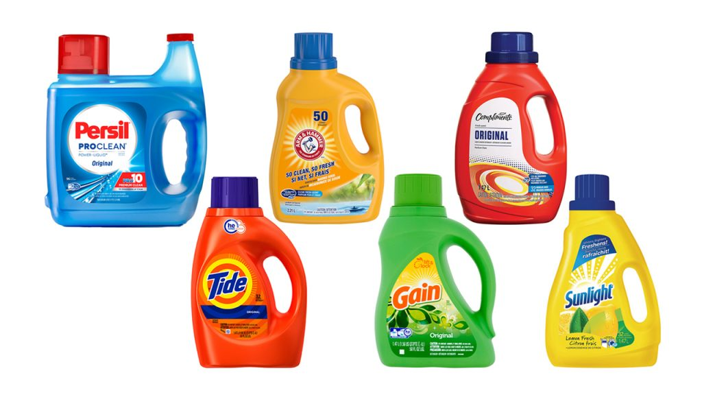 Picture of bottles of laundry detergent