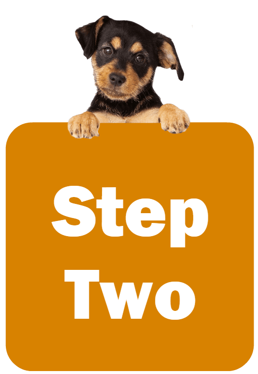 Puppy holding a sign that says Step Two